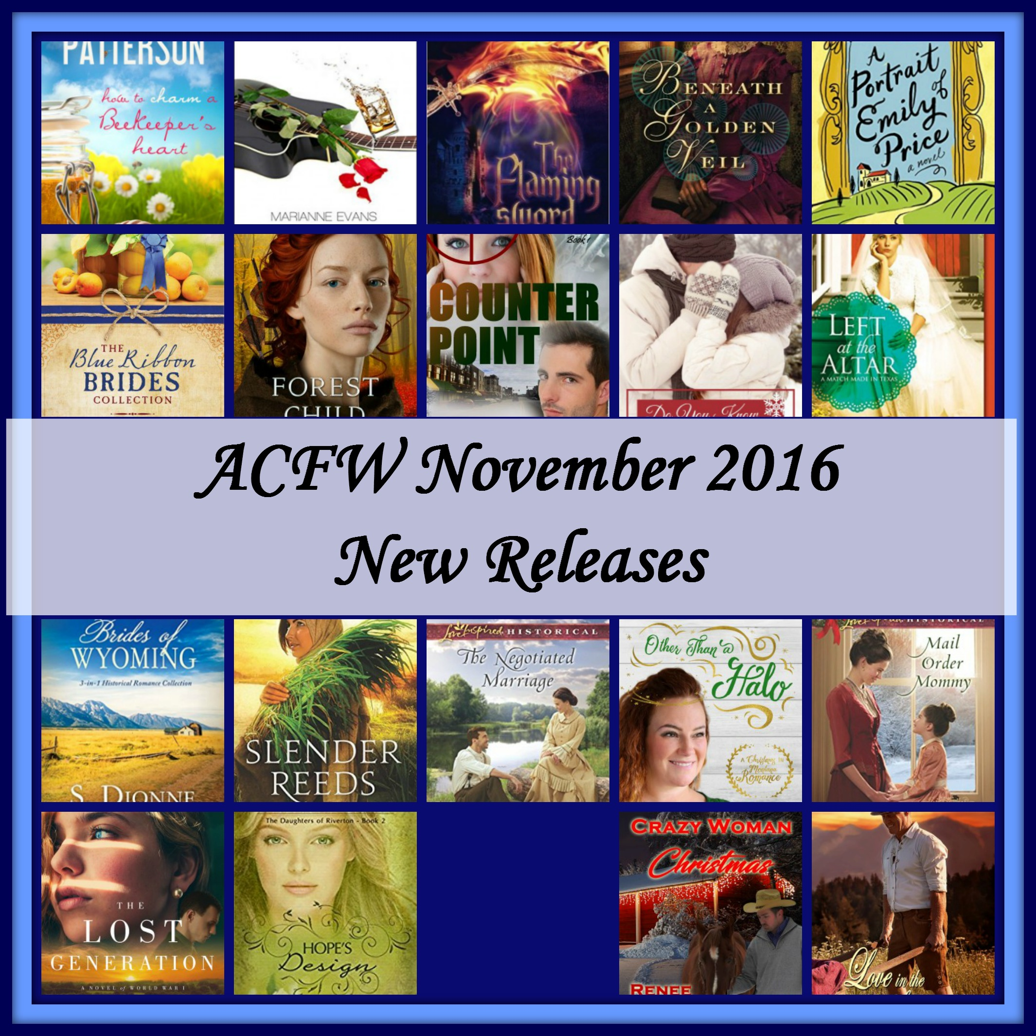 November 2016 New Releases from ACFW authors