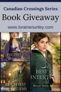 Giveaway at Loraine Nunley's website: Canadian Crossings series by Susan Anne Mason #bookgiveaway