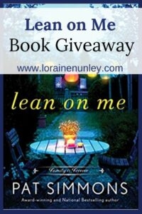 Giveaway at Loraine Nunley's website: Lean on Me by Pat Simmons #bookgiveaway