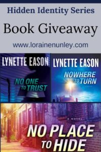 Giveaway at Loraine Nunley's website: Hidden Identity series by Lynette Eason #bookgiveaway