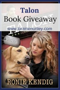 Giveaway at Loraine Nunley's website: Talon by Ronie Kendig #bookgiveaway