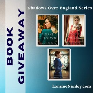 Giveaway at Loraine Nunley's website: Shadows Over England by Roseanna M White #bookgiveaway